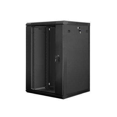 LANBERG Szafa instalacyjna wisząca 19'' 18U 600X600mm czarna (drzwi szklane)
